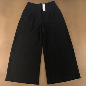 White House Black Market Women's Size 10 Long Black Wide-Leg Crop Pants NWT