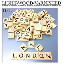 New 100 x varnished Wooden Scrabble Tiles Letters Alphabet Scrabbles Letter UK
