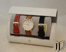 New Michael Kors Jaryn Brown Red Black Leather Three Hand Watch Set MK2596