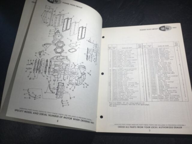 VXH-VXHL-11C OUTBOARD MOTOR PARTS MANUAL 380580 1965 JOHNSON 60HP VX-VXl-11C