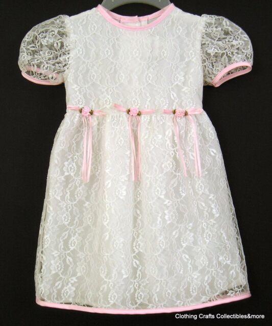 Toddler Girls White Lace Summer Dress Sz 4T Easter Wedding Church Rose Cottage