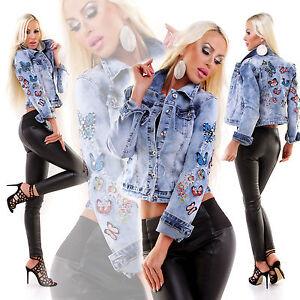 sale retailer 6a9db 441d8 Dettagli su Giacca jeans donna giubbino giacchetto applicazioni ricamato  strass borchie nuov