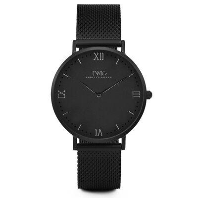 Reloj hombre/mujer TWIG HUME negro/oro/azul malla clásico vintage