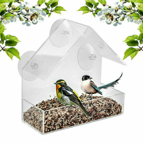 Triangle Bird Feeder Acrylic Birdhouse Hanging Bird Feeder Window Bird Watching