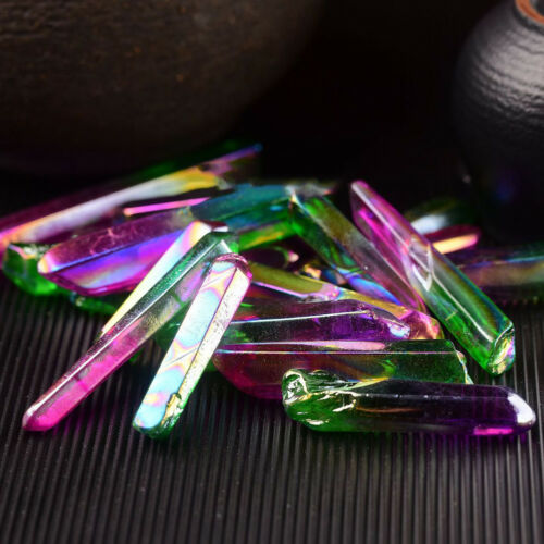 Crystal Aura Quartz Natural Healing Points Gem Angel Crystals Lemurian Point Lot