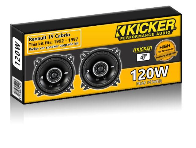"Renault 19 Cabrio Rear Panel Speakers Kicker 4"" 10cm car speaker kit 120W"