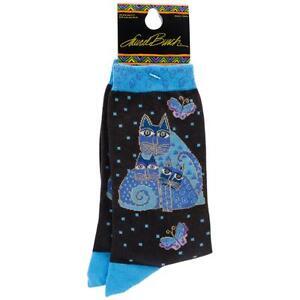 Laurel-Burch-Socks-INDIGO-CATS-BLUE-Size-9-11-Women-039-s-Ladies-Footwear