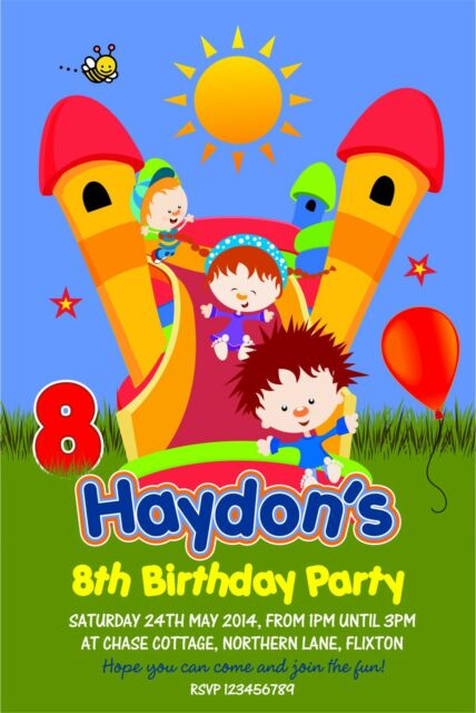 Personalised Birthday Invitations Inflatable Slide Bouncy Castle Party X 5