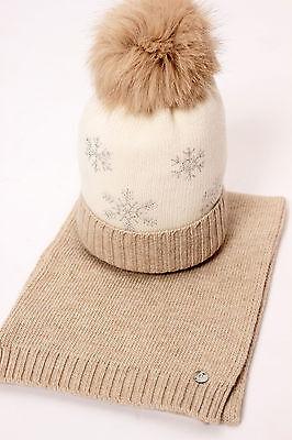 Elsy Baby Strickset*mütze & Schal* Schneeflocken*creme-beige* Gr.92-104 Neu%%%
