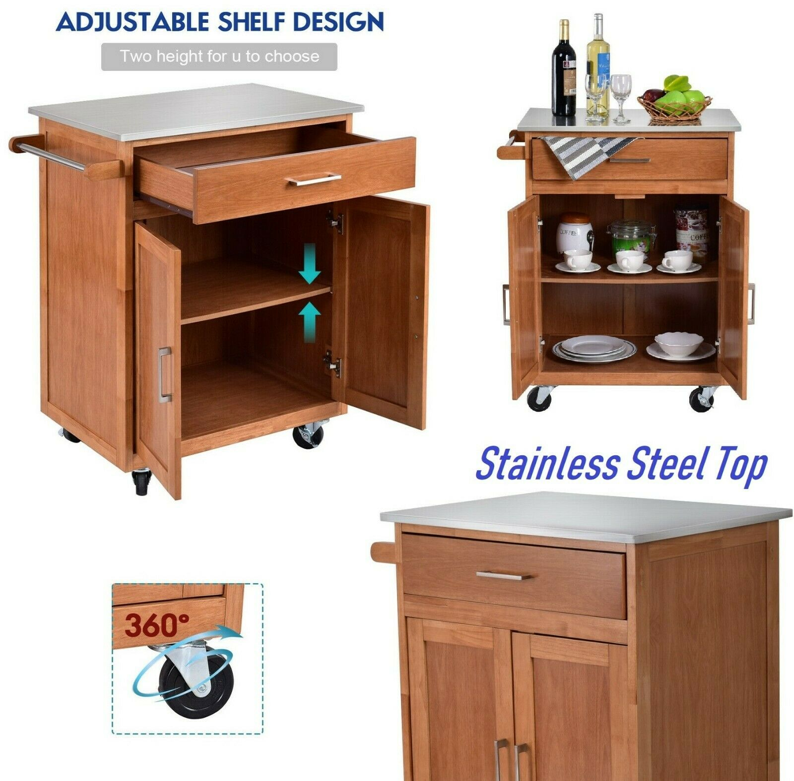 Kitchen Island Cart Rolling Cabinet With Drawers Wood Brown Modern Storage  Carts