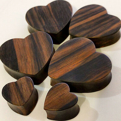 """Organic Handmade Carved Wood Solid Heart Striped Ear Plugs Gauges 00G - 1 1/4"""""""