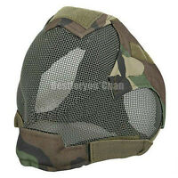 Paintball Airsoft Tactical Wire Mesh Full Face Protection Mask Bb Proof Woodland