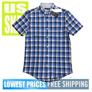 Tommy-Hilfiger-Men-039-s-NWT-Blue-Checkered-1-Button-Down-Short-Sleeve-Shirt-MEDIUM