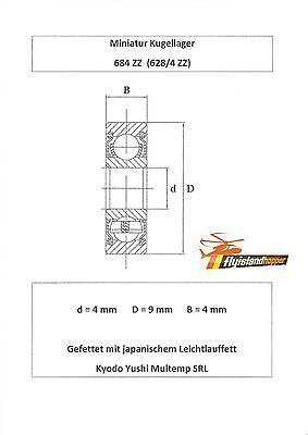 10x Kugellager 684 ZZ 4x9x4 mm 628//4 ZZ Bearing 4 x 9 x 4 mm Precision Bearing