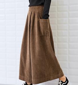 Ladies-Corduroy-High-Waist-Cropped-Trousers-Retro-Leisure-Wide-Leg-Pants-Fashion