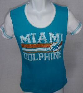 Miami dolphins football ladies glitter short sleeve t for Dolphins t shirt new logo