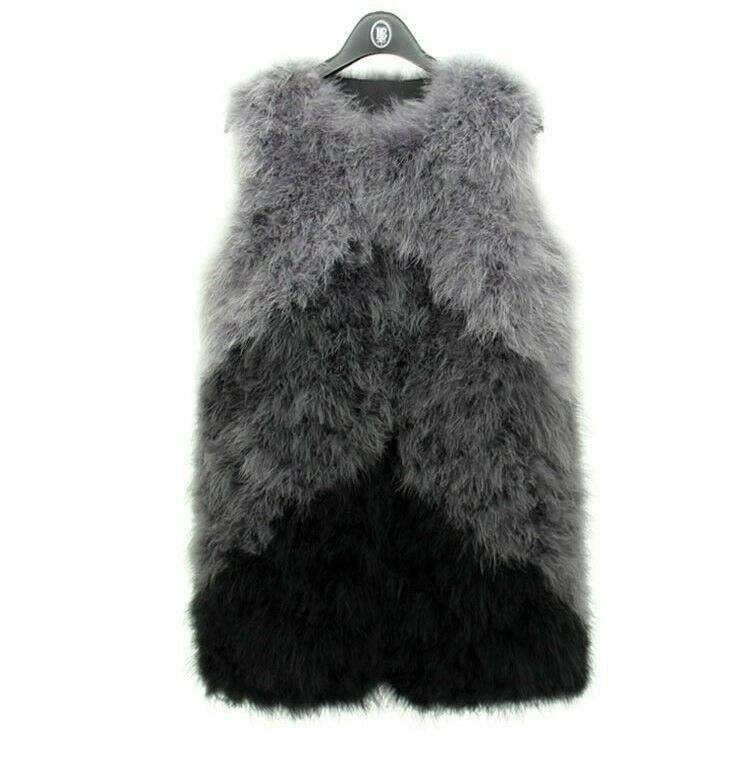 LIYAFUR New Women's Real Ostrich Fur Soft Long Multi color Waistcoat Gilet Vest