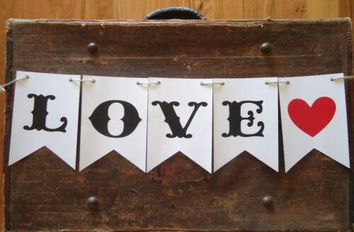 LOVE Bunting Banner Flags VINTAGE Wedding Engagement PHOTO PROP Birthday K