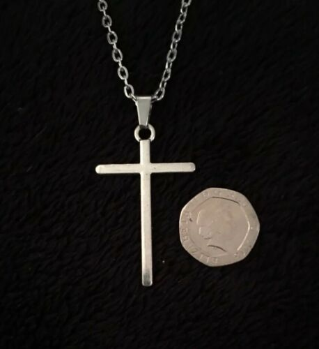 """Cross Necklace 24""""Chain God Silver Religious Gothic Jesus UK Gothic Statement"""