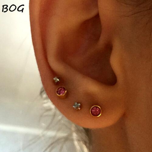 Sterile Surgical Steel Stud Earrings Bezel Set Birthstones for Ear Piercing Gun
