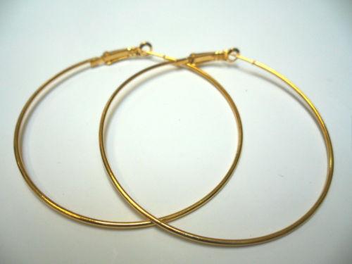 Pair Of Womens Ladies Gold Plated Large Hoop Earrings 7cm Uk Seller