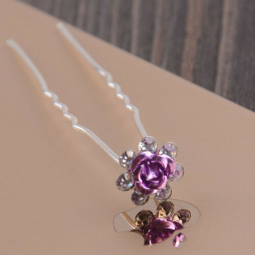 New Bridal Wedding Crystal Rhinestone Rose Flower Hairpin Barrettes Hair Sticks