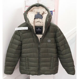 Details about HOLLISTER MENS SHERPA LINED DOWN PUFFER JACKET COAT OLIVE SIZE XXL