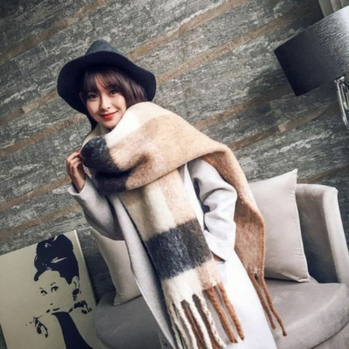 Foulard long châle Big Wrap Blanket surdimensionné Tartan Femmes Hiver doux à motif écossais chaud