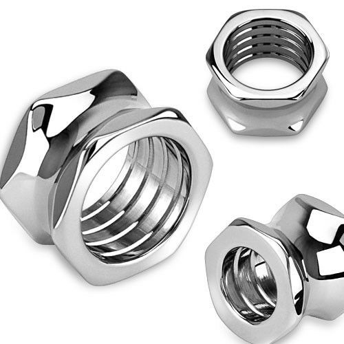 PAIR Steel Hexagon Screw Bolt Tunnels Double Flare Plugs Earlets Gauges