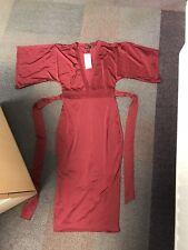 58c427aa27a0 Boohoo Leni Slinky Kimono Sleeve Tie Waist Midi Dress Berry Size 8 NEW Shift