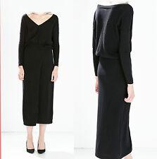 ZARA Black Knitted V Neck Long Sleeve With Slit Skirt Casual Long Dress SMALL