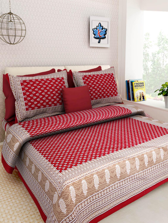 100% Cotton Rajasthani Nature Design Beautiful King Bed sheet 2 Pillow Covers