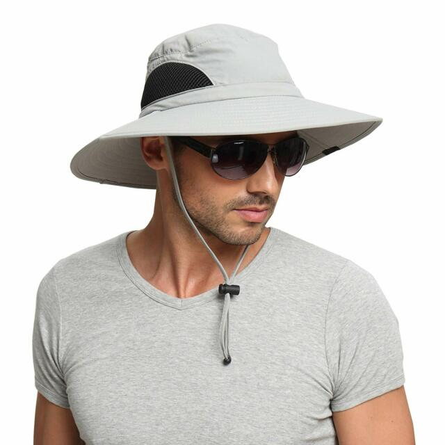 46bad3c6cd5 EINSKEY Sun Hat Unisex UV Protection Wide Brim Fishing Hiking Camping Light  Grey