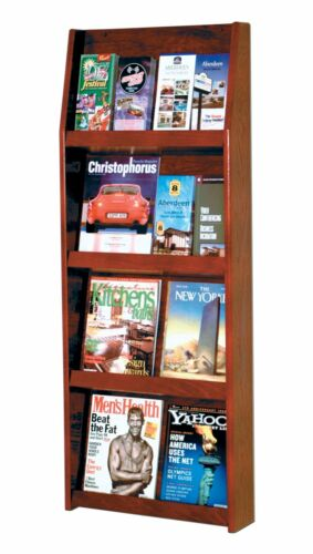 "Wooden Mallet Slope 16 Pocket Literature Display Mahogany 19.5/""x49/""x4.75/"""