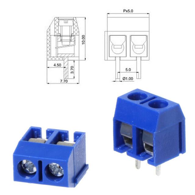 100pcs 2 Pin Screw Terminal Block Connector 5mm Pitch G