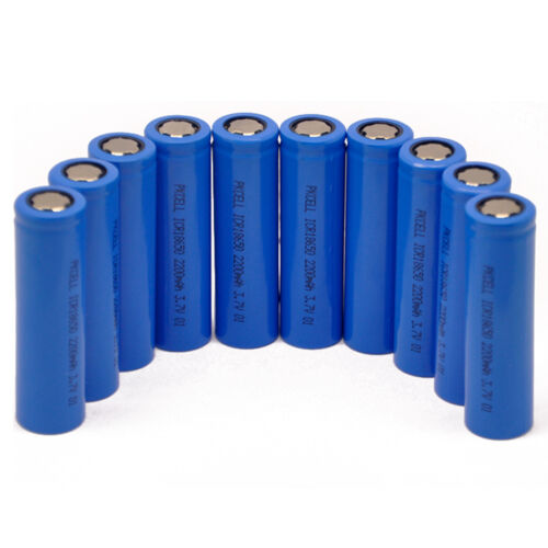 10pcs 18650 Battery Li-ion Rechargeable 3.7V 2200mAh Unprotected Flat Top PKCELL