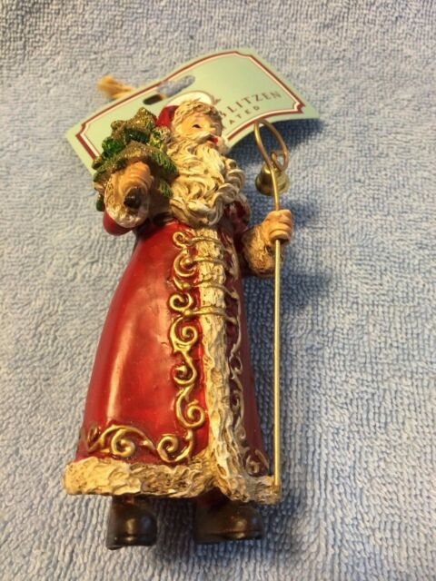 Santa Claus With Sack Of Toys Tree And Staff Ornament By Donner Blitzen New Ebay