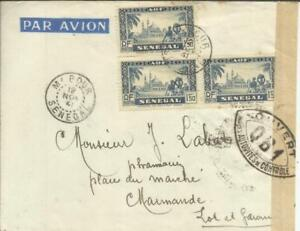 100% Vrai Senegal Sc#164(block Of 3) M''bour 12/nov/41-french Censor Label-qb1(mbour