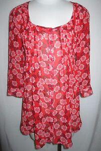 Xhilaration-Women-039-s-3-4-Sleeve-Top-Blouse-Size-M-Red-Black-White-Semi-Sheer