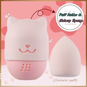 Silicono-Powder-Puff-Blender-Holder-Sponge-makeup-Puff-caso-Cassetta-cosmetica