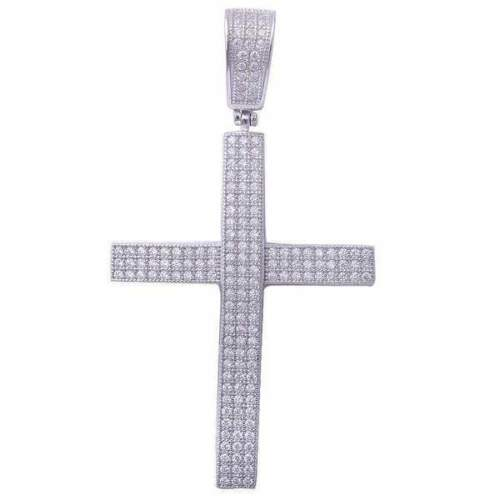 Hiphop Style Micro Pave Cubic Zirconia Cross .925 Sterling Silver Pendant