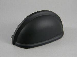 """25 Amerock Cup 3/"""" Flat Black Kitchen Cabinet Drawer Door Handle Pull BP53010FB"""