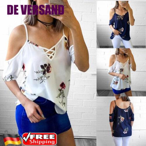 Damen Schulterfrei Blumen Vintage Damenbluse Tops Sommer Locker Shirt Oberteil