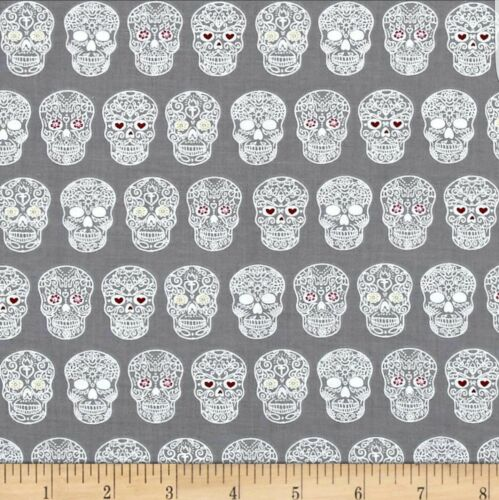 sugar skulls in grey by the Fat Quarter Sweet rebellion Ink and arrow