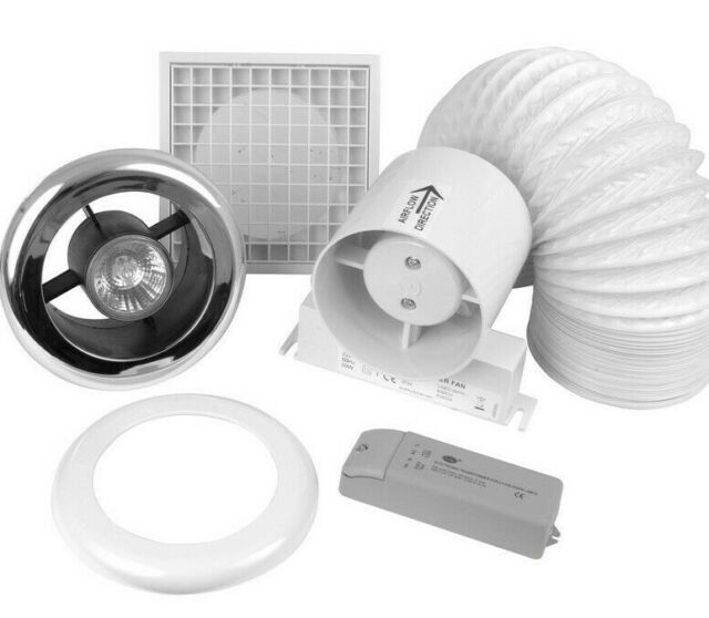 3 X Airvent 434448a In Line Shower Extractor Fan With Low Voltage Dichroic Lamp For Sale Online Ebay