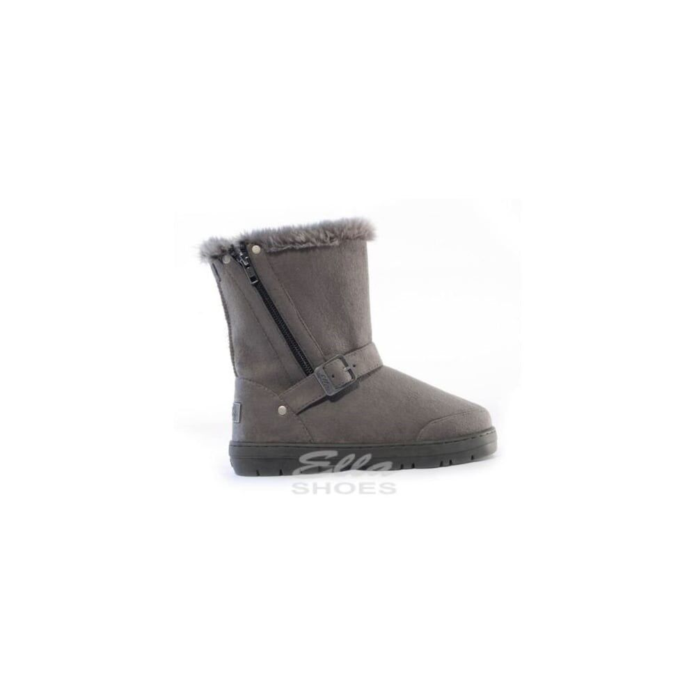 Ella Libby Grey Ladies Vegan Boots Buckle Zip Ankle Fax Fur Boot