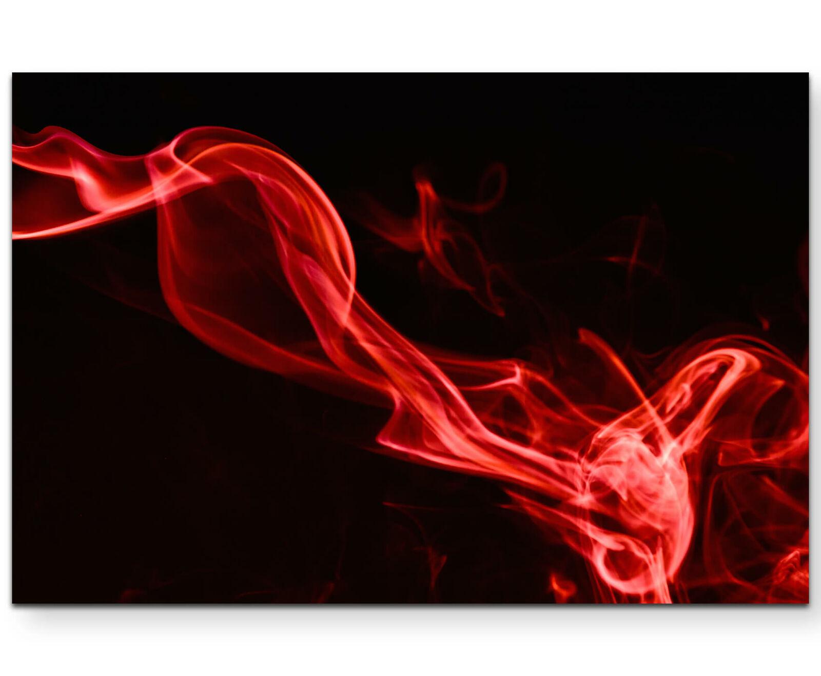 Roter Rauch vor schwarzem Hintergrund - Leinwandbild