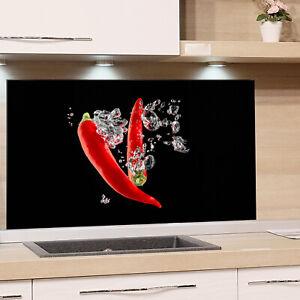 Spritzschutz Herd Glas Küche Chili Rot Schwarz Peperoni ...