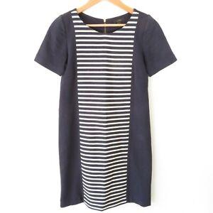 J Crew Blue Ivory Striped Short Sleeve Knit Shift Dress A3446 Women's Sz 0