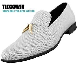 Men-039-s-White-Sparkling-Sequin-Loafers-Dress-Shoes-Slip-on-Metal-Tassels-TUXXMAN